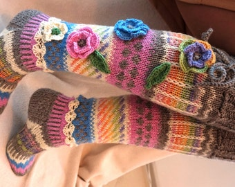 Wool socks, Hand knit knee socks, handknitted socks, flower knee socks, Flower socks, rainbow socks, woman leg warmers, Hand knit socks