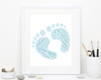 Baby Gift, Gift for new baby, Personalized baby Gift, Baby Shower gift, Nursery decor, Baby Boy, Boy Nursery, Birth Stats,  DIGITAL FILE