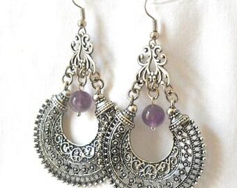 gypsy earrings bohemian earrings amethyst chandelier earrings amethyst earrings boho earrings silver tone gemstone earrings amethyst jewelry