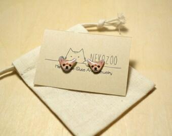chihuahua Dog earrings handmade Tiny jewelry with linen cotton bag