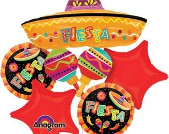 Fiesta Balloon Bouquet - Fiesta Balloons - Mexican Balloons - Fiesta Decorations - Mexican Theme