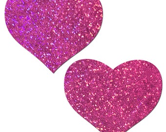 Pasties - Hot Pink Glitter Heart Nipple Pasties by Pastease® o/s