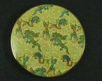 Vintage Powder Compact by Vogue Vanities Persian Dragon Bird Man Excellent 60s