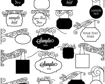 Vintage Signs Clipart Clip Art, Frames Clipart Clip Art - Commercial and Personal Use