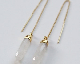 Moonstone Point Gold Earrings OOAK