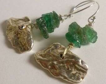rough apatite and sterling silver earrings
