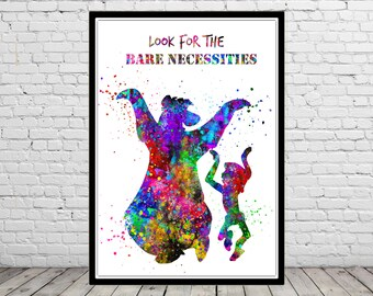 Mowgli and Baloo inspired, The jungle book, Watercolor print, The jungle book quote, Kids Room Decor, Poster, print