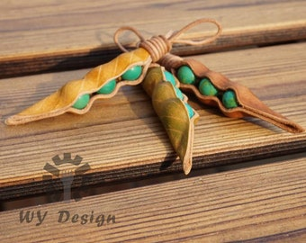 Turquoise Peapod 3 peas in a leaf embossed dyed leather pod pendant necklace