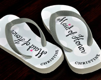 Custom Flip Flops, Maid of Honor, Bridal Flip Flops, Custom Wedding Flip Flops, Wedding Flip Flop, Flip Flops, Custom, Name Sandals, Wedding