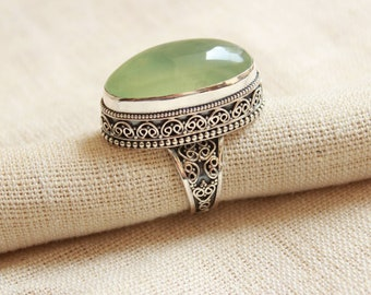 AAA Natural prehnite handmade with granulation technique statement ring long oval  shape gemstone  available in all ring sizes *boho ring