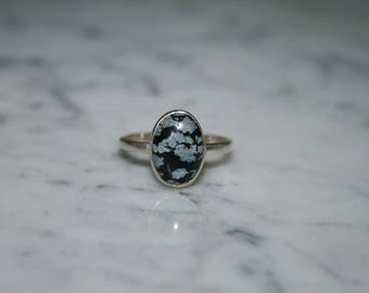 Snowflake Obsidian and Sterling Silver Ring