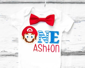 Baby boy Super Mario Brothers first birthday onesie Nintendo Mario  boy one year outfit Mario Brothers red bow tie boy birthday