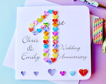 1st Wedding Anniversary Card - Handmade Personalised First Anniversary Card - Custom - Wife / Husband - Our 1st Paper Anniversary BHAN01