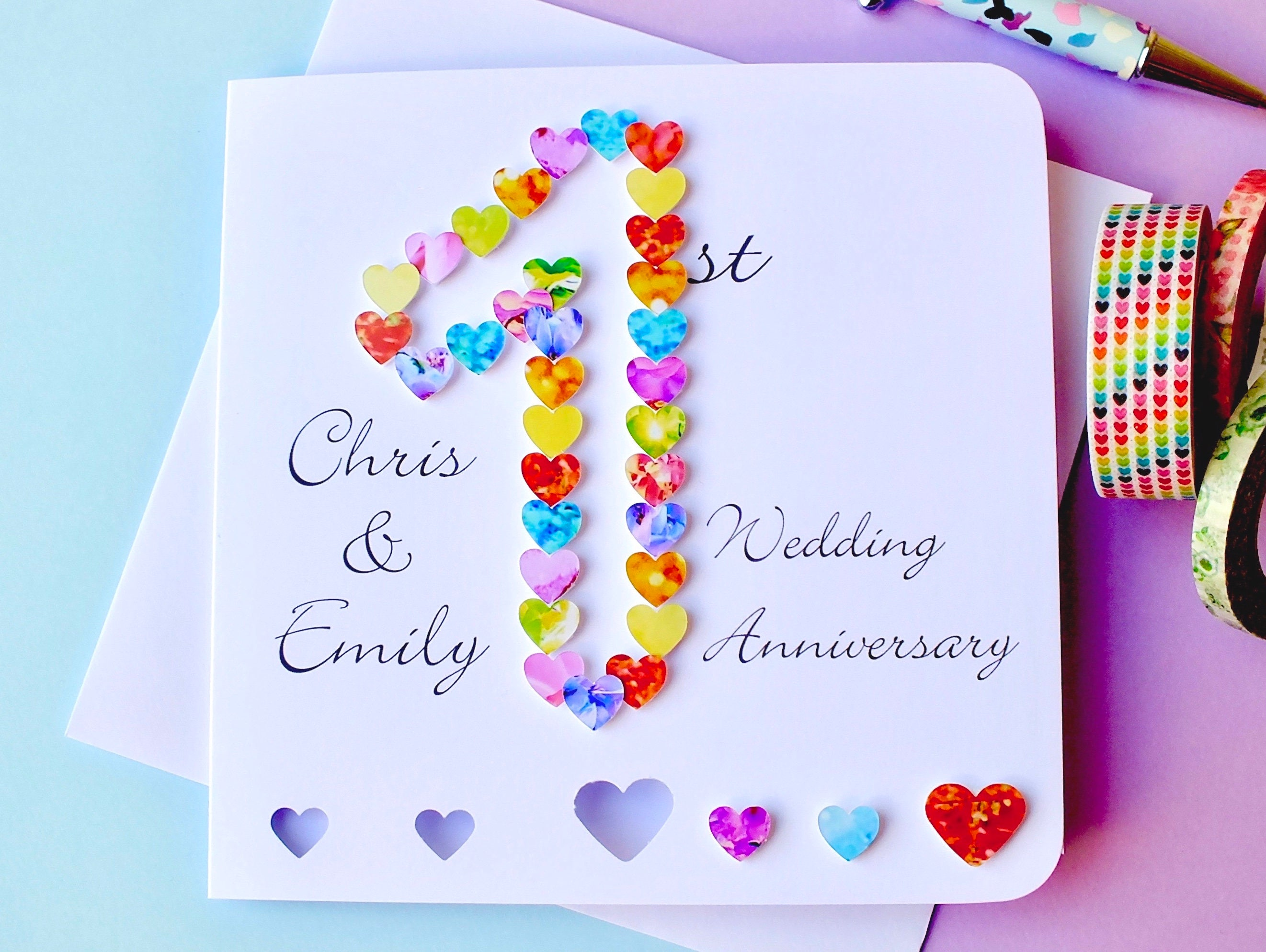 1st wedding anniversary card handmade personalised first zoom m4hsunfo