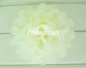 2x Ivory Cream Big Flower Baby Girl Hair Clips