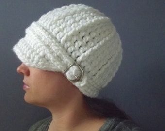 Womens Hat Womens Beanie Womens Cap White Hat White Beanie White Cap White Sparkle Crochet Hat Knit like Buckle Beanie Winter Hat Accessory