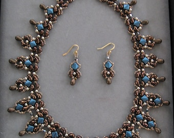 Jet Bronze Zoliduo and Blue Silky Beaded Necklace  and Earrings