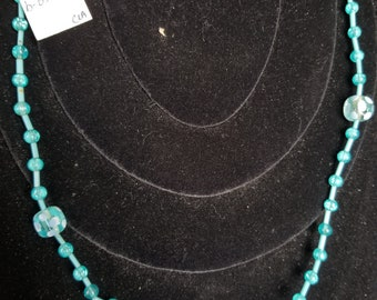 Necklace- teal beaded hand made