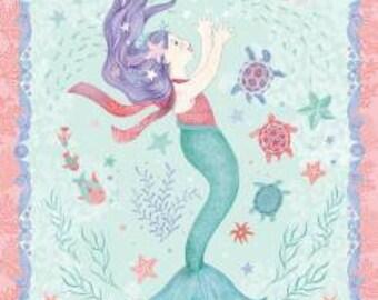 Mermaid Dreams -Panel-  Studio E - Nautical Fabric - Coral- Blue- Aqua- Ocean- Cotton Fabric- By the Panel