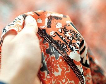 Orange Artisic Pattern, 60S Silky Cotton Fabric, by Yard
