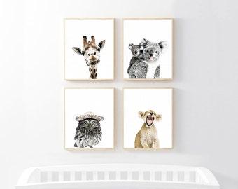 nursery art, art print set, nursery decor, baby animal print, baby animal nursery art, animal prints for nursery, woodland nursery,baby room