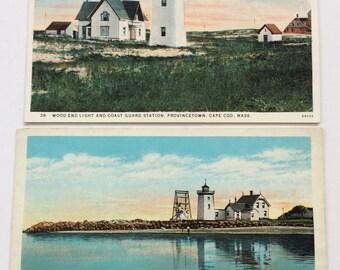 Lighthouse Postcard Lot Provincetown Mass Wood End Light & Coast Guard Station Long Point Light