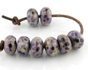 Antique Violet Handmade Lampwork Beads (8 Count) by Pink Beach Studios - SRA (1694)