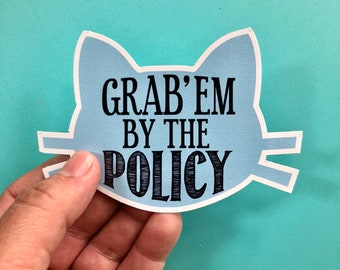 grab'em by the policy vinyl sticker