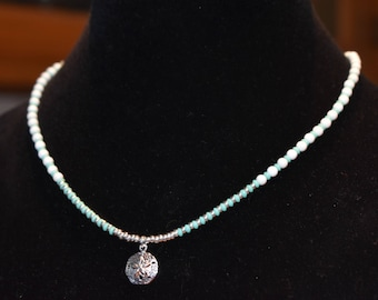 Jewelry - Necklace - White and Turquoise Glass Beads - Sterling Silver Beads - Sterling Silver Sand Dollar Pendant