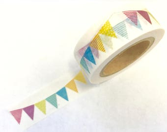 Colorful Pastel Flag Bunting Banner Paper Washi Tape Scrapbooking Decorate Sticker - Happy Birthday - (1102)