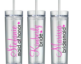 5 Skinny Personalized Bridesmaid Tumblers, Wedding Party Tumblers, Bridal Party Tumbler, Bridesmaid Gift