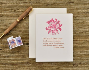There is no friend like a sister - Christina Rossetti quote - letterpress card