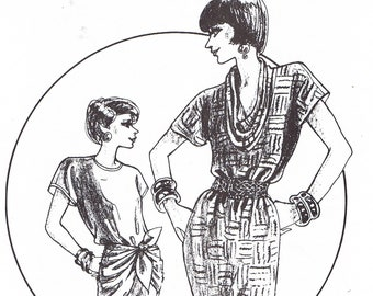 Straight or Sarong Skirt Shell or V-Cowl Tops Sarong Style Hip Wrap Belt Great Copy 1250 Sewing Pattern XS S M L