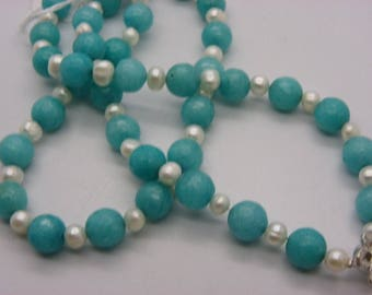 jade 10 mm necklace has faceted turquoise with natural freshwater pearls white 61 cm