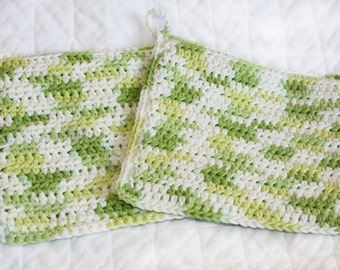 Crocheted Cotton Potholders, Green and White Variegated Potholders, Double-thickness, Kitchen Pot Holders, Set of Two Hot Pads