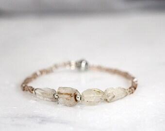 Raw Topaz Bracelet - Rough Stone Jewelry - November Birthstone - Bracelet For Her - Natural Stone Bracelet - Beaded Stretch Bracelet