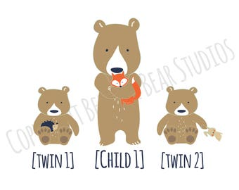 Personalised Bear Children Print - Older Child and Twin Babies