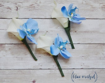 Cream Calla Lily Boutonniere, Blue Orchid Boutonniere, Real Touch Boutonniere, Wedding Flowers, Rustic Wedding, Boho Wedding, Blue Flowers