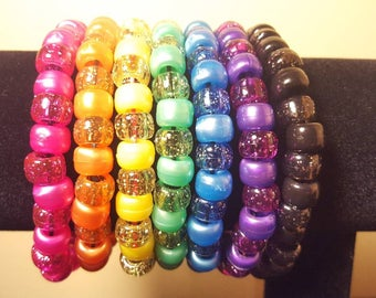 Beaded Bracelets - Set of 7 - Rainbow