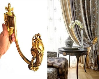 SALE Large Bronze Curtain Tie Back  , Antique French Drapery Curtain Hook Gilt Ornate Curtain Holder Hook , Empire style Curtain Hold Back