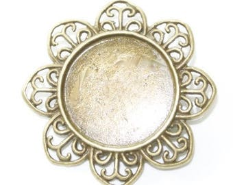 Bronze support cabochon brooch pin