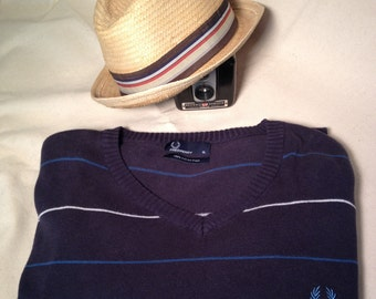 Striped, Navy Blue,  Fred Perry,  Vintage Men's Sweater in Size XL
