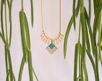 "Necklace ""Carrément"" Blue or green brass gold filled 24k"