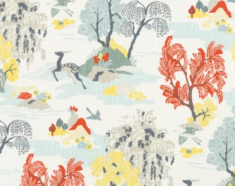 Modern Toile Persimmon  By Robert Allen Fabric by the yard