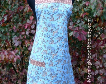 BOHO APRON, Brown/Blue/Cream Reversible! Ditzy Floral, Indian Cotton French Shabby Cottage Chic Flowers Print, Retro vintage kitchen pinnie