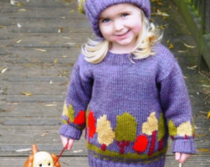 Child's Sweater and Hat-Trees Knitting Pattern,  Tree Sweater and Hat Knitting Pattern, Girl Knitting Pattern. Boy Knitting Pattern-Trees