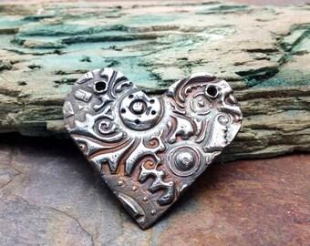 Artisan Silver Precious Metal Clay Heart Pendant
