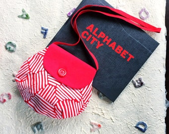Stylish fabric purse for girls, white and red stripes with red flap and button. Cross body, shoulder bag for kids
