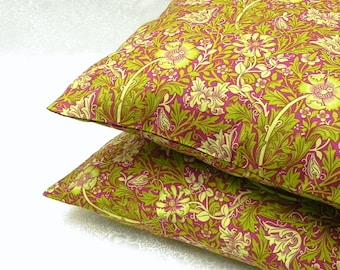 Decorative Pillow Covers. Set of Two 16x16.  Floral in green and pink.