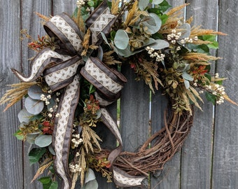 Fall Wreaths, Eucalyptus Fall Wreath, Wreaths for fall, Muted Thanksgiving wreath, Wreaths for door, Wreaths No Orange Wreath, Harvest
